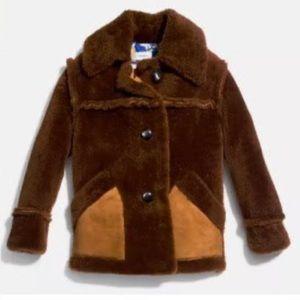 Coach 1941 Short Shearling Coat w/ Printed Lining